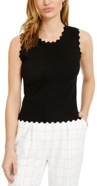 Bar III Sleeveless Scalloped Knit Top, Created for Macy's