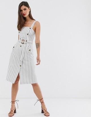 Liquorish button front midi dress in stripe