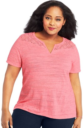 Just My Size Women's Plus Size Short Sleeve Lace Peasant Top