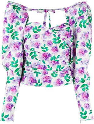 Giuseppe di Morabito Floral-Print Puff-Sleeves Blouse