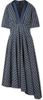 ADAM by Adam Lippes Asymmetric Gathered Checked Cotton-poplin Midi Dress - Storm blue