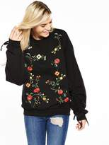 Miss Selfridge Embroidered Ruched Sleeve Sweat