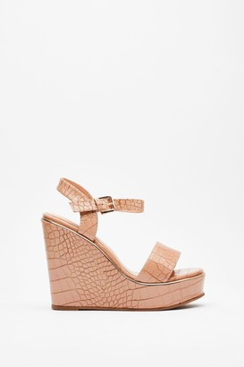 Nasty Gal Womens On Crocy Road Faux Leather Wedges - Nude