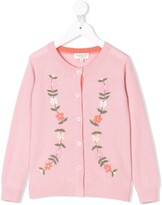 Cashmirino Cashmere floral embroidered cardigan