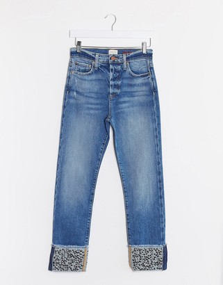 Alice + Olivia Jeans high rise girlfriend jeans with sequin cuff in blue