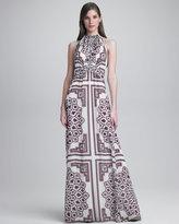 Paisley-Print Halter Gown