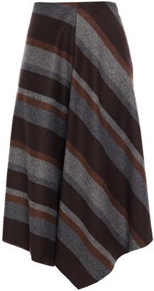 Brunello Cucinelli Asymmetric Striped Wool-blend Twill Skirt