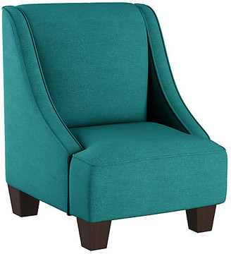 One Kings Lane Fletcher Kids' Accent Chair - Teal Linen - frame, espresso; upholstery, teal
