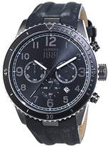 Cerruti Men's Quartz Watch with Black Dial Analogue Display and Gold Leather CRA104SUB02GY VOLTERRA