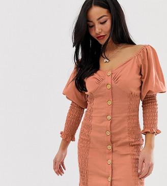 ASOS DESIGN Petite button through shirred mini dress