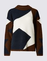 Marks and Spencer Colour Block Print Crew Neck Jumper