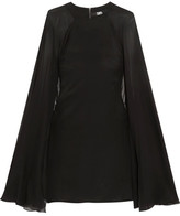 Karl Lagerfeld Cape-effect Stretch-silk Satin And Silk-chiffon Mini Dress - Black