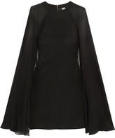 Karl Lagerfeld Cape-effect Stretch-silk Satin And Silk-chiffon Mini Dress
