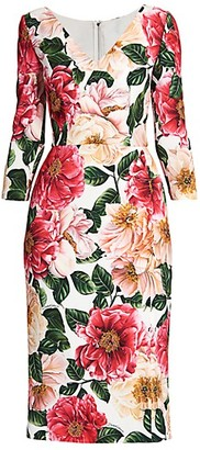 Dolce & Gabbana Floral V-Neck Cady Dress