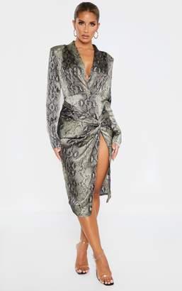 PrettyLittleThing Snake Print Knot Detail Blazer Style Midi Dress