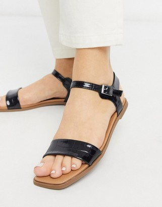 New Look square toe leather look flat sandals in black croc