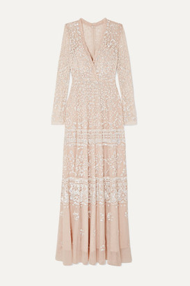 Needle & Thread Aurora Sequined Tulle Gown - Blush