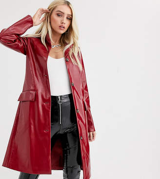 UNIQUE21 trench coat in red vinyl