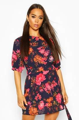 boohoo Woven Floral Puff Sleeve D-Ring Detail Mini Dress