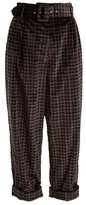 Isa Arfen Tartan-checked wide-leg cotton-velvet trousers