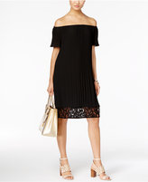 MICHAEL Michael Kors Off-The-Shoulder Pleated Shift Dress, A Macy's Exclusive