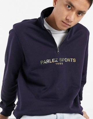 Parlez Nelson half-zip embroidered sweatshirt in navy