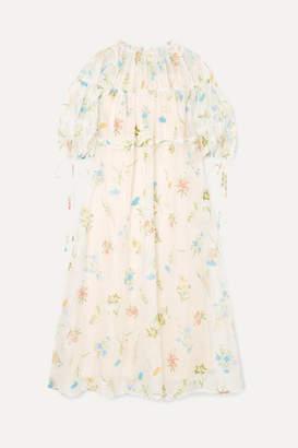 REJINA PYO Tia Embroidered Cotton-blend Organza Midi Dress - White