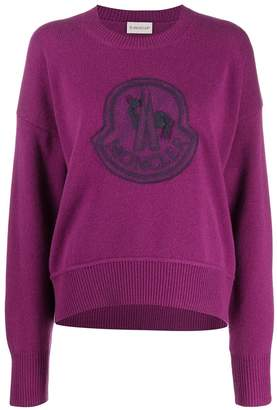 Moncler logo patch knitted jumper