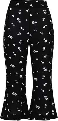 Paper London Cropped Floral-print Crepe Kick-flare Pants