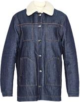 Carven Faux Shearling Trimmed Denim Jacket