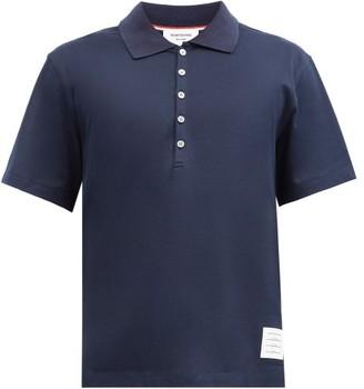 Thom Browne Logo-patch Cotton-pique Polo Shirt - Navy