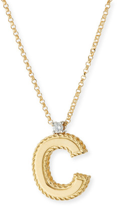 Roberto Coin Princess 18K Yellow Gold Diamond Initial Necklace, C