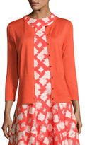 Lela Rose 3/4-Sleeve Button-Front Cardigan