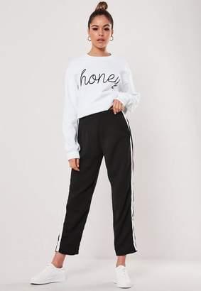 Missguided Petite Black Side Stripe Cigarette Pants