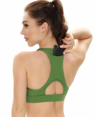 QUEENIEKE Women's Medium Support Strappy Back Energy Sport Bra Cotton Feel Back Pocket Size XS Color Black
