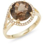 Effy Diamond, Quartz & 14K Yellow Gold Ring