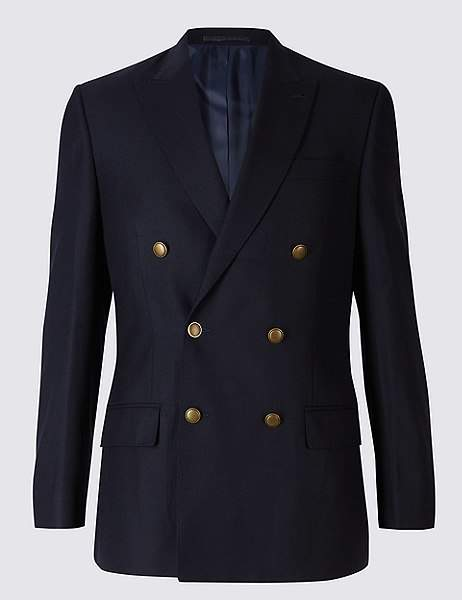 Marks and Spencer Pure Wool Textured Regular Fit Jacket