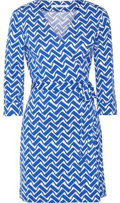 Diane von Furstenberg Julian Printed Cotton And Silk-blend Wrap Mini Dress