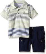 Calvin Klein Baby Boys' Striped Jersey Polo Shirt and Twill Shorts