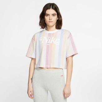 Nike Women's Sportswear Retro Femme Striped Crop T-Shirt