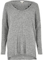 River Island Womens Grey marl knit lace trim V neck jumper