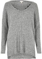 River Island Womens Grey marl knit lace trim V neck sweater