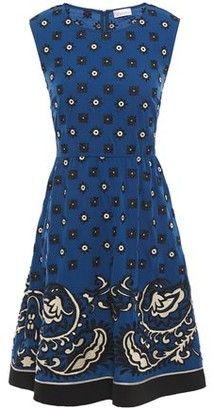 RED Valentino Flared Embroidered Printed Crepe De Chine Dress