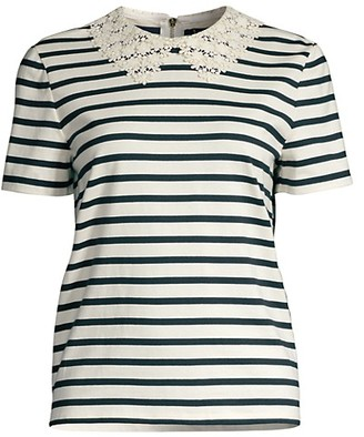 Kate Spade Striped Lace Collar T-Shirt