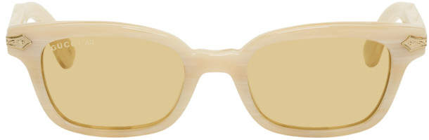 Gucci Beige Vintage Titanium Horn Sunglasses