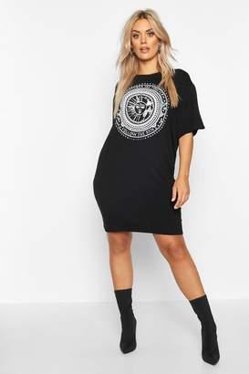 boohoo Plus Sun Print Short Sleeve T-Shirt Dress
