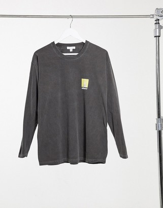 Topshop 'utopia' long-sleeved T-shirt in charcoal