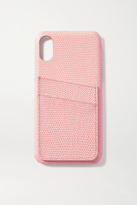 The Case Factory - Lizard-effect Leather Iphone X And Xs Case And Cardholder Set - Baby pink