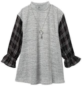 My Michelle mymichelle Plaid Sleeve Hacci Dress & Necklace Set (Big Girls)