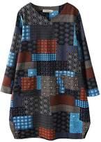HOOBEE LINEN Women's Long Sleeve Plaid Print Shift Dress Top with Pockets